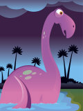 Purple Dinosaur in Lake Prints