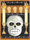 Altar with Human Skull and Candles Print