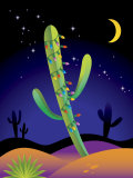 Saguaro Cactus Decorated with Christmas Lights Print