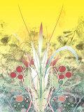 Yellow Sky over Growing Plants Print