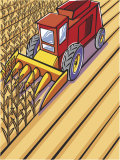 Harvester Plowing Wheat Field Prints