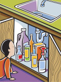 Man Searching Through Bottles under Kitchen Sink Prints