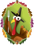 Anthropomorphic Turkey Pilgrim with Fork Prints