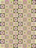 Rows of Multicolored Circles in Squares Prints
