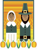 Stylized Portrait of Pilgrim Couple Prints