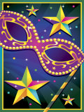 Masquerade Mask and Stars for Mardi Gras Poster