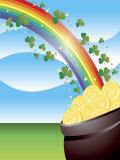Shamrocks on Rainbow Leading to Pot of Gold Photo