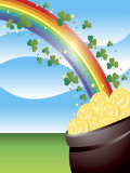 Shamrocks on Rainbow Leading to Pot of Gold Poster