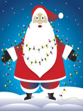 Santa Claus Tangled in Christmas Lights Poster