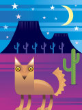 Desert Landscape at Night with Coyote and Cacti Photo