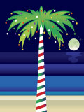 Palm Tree Decorated with Christmas Lights Stampe