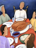 Family at Table for Thanksgiving Feast Prints