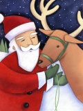 Santa Claus Working with Reindeer Photo