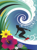 Silhouette of Surfer in Curl of Wave Prints
