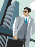 Fashionable Businessman Posing Outdoors Poster