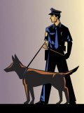 Policeman with German Shepherd Photo