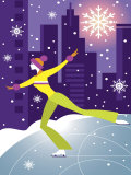 Woman Figure Skater Performing Outdoors in City at Night Print