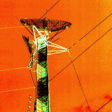 Satellite on Electrical Tower and Power Lines Photographic Print