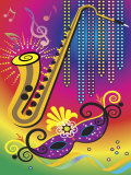 Colorful Symbols of Mardi Gras Print
