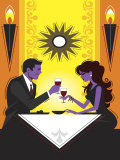 Couple Dining in Fine Restaurant Prints