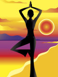 Woman Doing Yoga on Beach at Sunset Poster