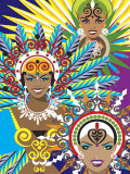 Women in Costumes for Carnival in Rio De Janeiro, Brazil Prints