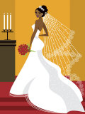 Wedding Bride in White Dress Prints