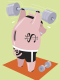 Financial Concept with Piggy Bank Lifting Weights Prints