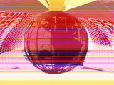 Pink Globe in Hi-Fi Computer Network Photographic Print