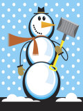 Snowman with Snow Shovel Poster