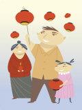 Family Celebrating Holiday Poster