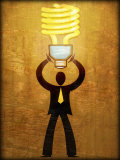 Figure Holding Energy-Efficient Light Bulb Poster