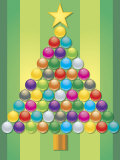 Colorful Ornaments Arranged Like Christmas Tree Stampa