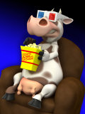 Cow in Chair with Popcorn and 3-D Glasses Posters