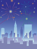 Fireworks over City Skyline Prints