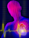 Heartbeat by Heart with Silhouetted Person Prints