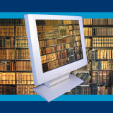 Book Shelves on Computer Screen Symbolizing E-Book Information Databases Photographic Print