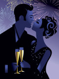 Couple Celebrating New Year's Eve Prints