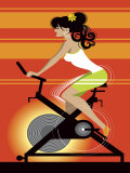 Woman on Exercise Bike Poster