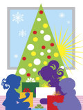 Children Opening Christmas Presents Poster