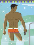 Muscular Man Posing in Swimmming Pool Prints