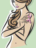 Nude Woman Posing with Pink Ribbon for Breast Cancer Awareness Prints