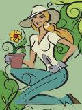 Woman Gardening Prints
