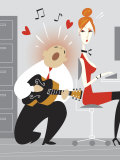 Office Worker Playing Guitar for Woman Print