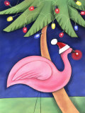 Flamingo Lawn Ornament and Christmas Lights in Palm Trees Print