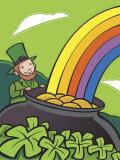Irish Leprechaun with Pot of Gold by Rainbow Photo