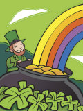 Irish Leprechaun with Pot of Gold by Rainbow Print