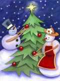 Snowman and Snowwoman Decorating Christmas Tree Lámina