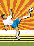 Soccer Player Kicking Ball Print