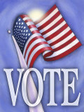 Command to Vote with American Flag Poster